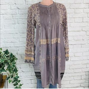 Johnny Was Embroidered  Boho Peasant Tunic Dress S